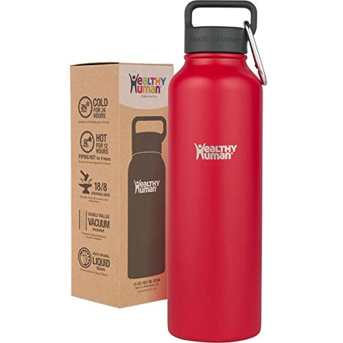 Healthy Human Water Bottle おしゃれ ウォーターボトル 真空断熱ステンレス魔法瓶 (32oz (946ml), Red Hot)