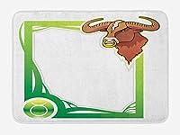 Zodiac Taurus Bath Mat, Second Sign from The Series of Zodiac Cartoon Style Frame, Plush Bathroom Decor Mat with Non Slip Backing, 23.6 L X 15.7 W Inches, Fern Green Apple Green Brown