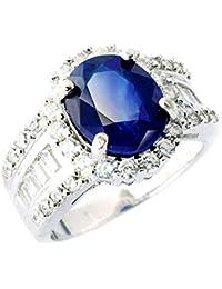 One&Only Jewellery 【鑑別書付】 大粒 3.5ct 天然 サファイア リング 指輪 K18GP 宝石の王様 9月誕生石 (11号)