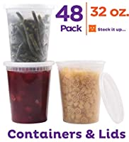 (950ml) - Stack Man Plastic Food Storage Deli Containers with Airtight Lids, 48 Pack (950ml)