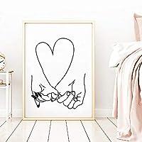 ピンキープロミス抽象アートプリント私はあなたを愛してパーソナライズされたギフトロマンチックな壁アートキャンバス絵画ポスターウェディングギフト-40x60cmx1個フレームなし