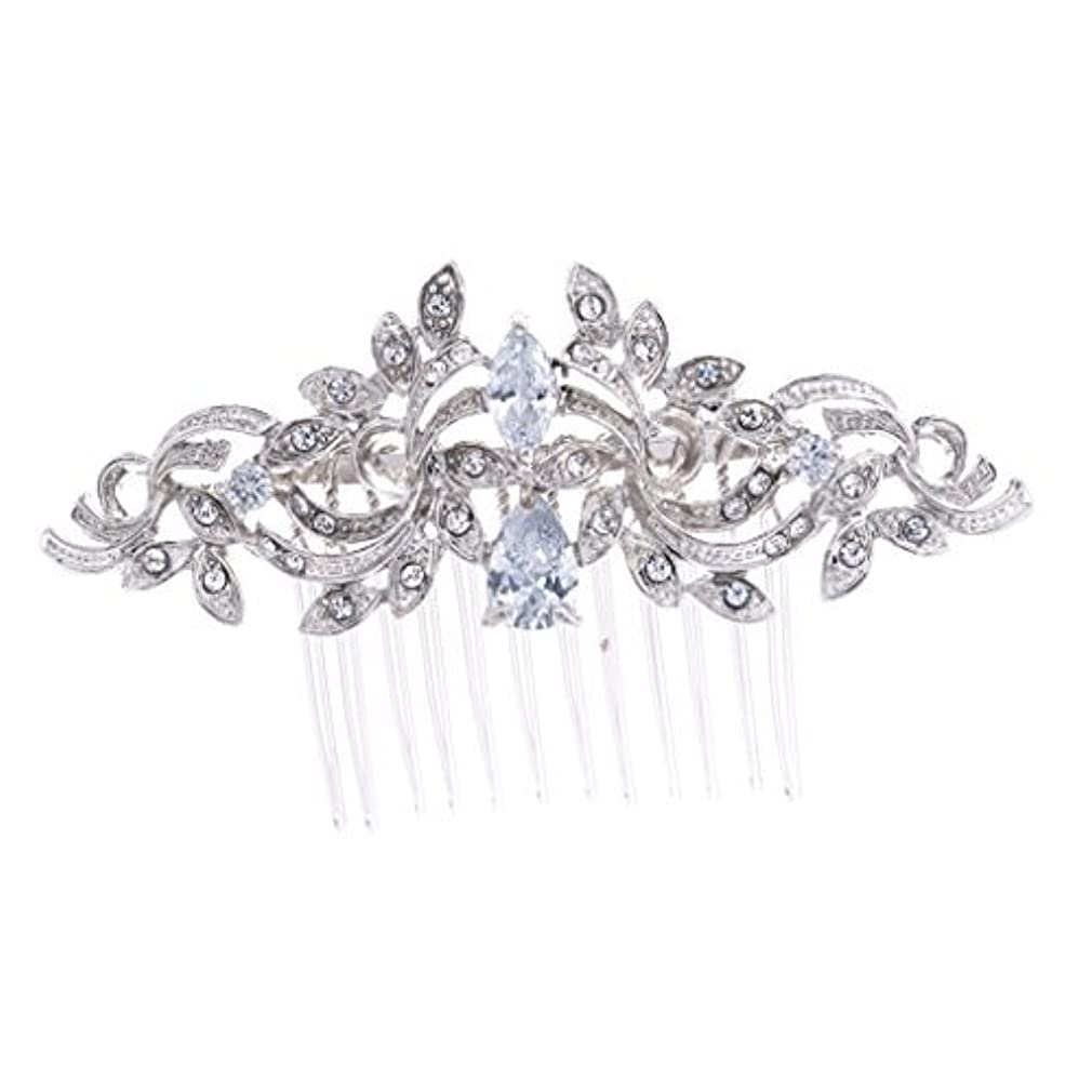 瞑想的発行オークションSEPBRIDALS Crystal Rhinestone Leaves Hair Comb Hair Pins Bridal Wedding Hair Accessories Jewelry 4012R [並行輸入品]