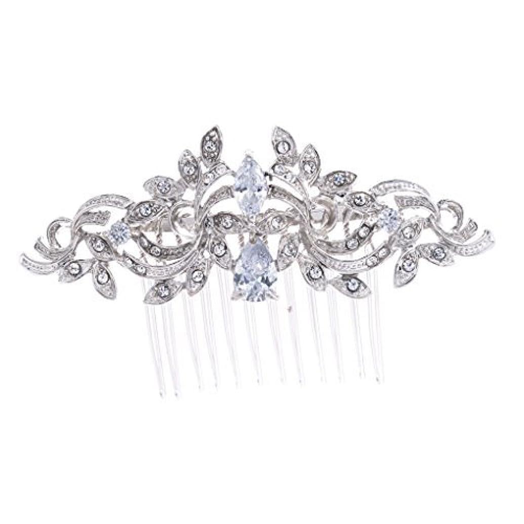 報告書航空便泥沼SEPBRIDALS Crystal Rhinestone Leaves Hair Comb Hair Pins Bridal Wedding Hair Accessories Jewelry 4012R [並行輸入品]