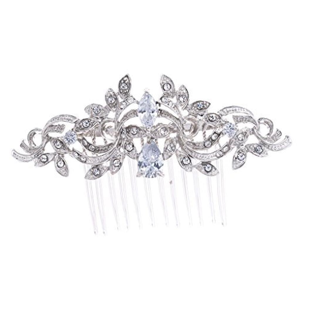 タンザニア粒トイレSEPBRIDALS Crystal Rhinestone Leaves Hair Comb Hair Pins Bridal Wedding Hair Accessories Jewelry 4012R [並行輸入品]