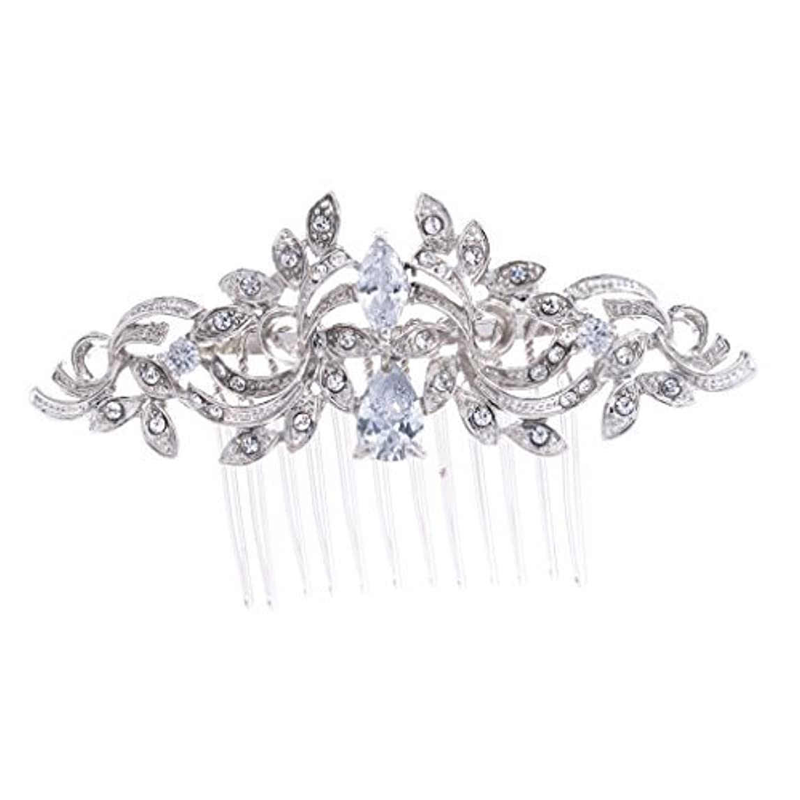 良い避難準備SEPBRIDALS Crystal Rhinestone Leaves Hair Comb Hair Pins Bridal Wedding Hair Accessories Jewelry 4012R [並行輸入品]