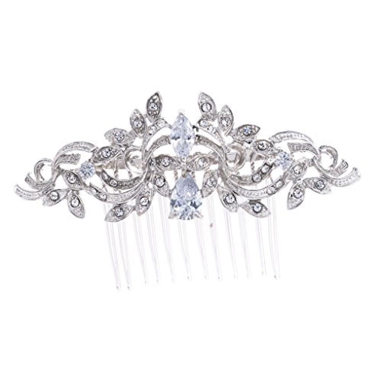 フェザーためらう相対サイズSEPBRIDALS Crystal Rhinestone Leaves Hair Comb Hair Pins Bridal Wedding Hair Accessories Jewelry 4012R [並行輸入品]