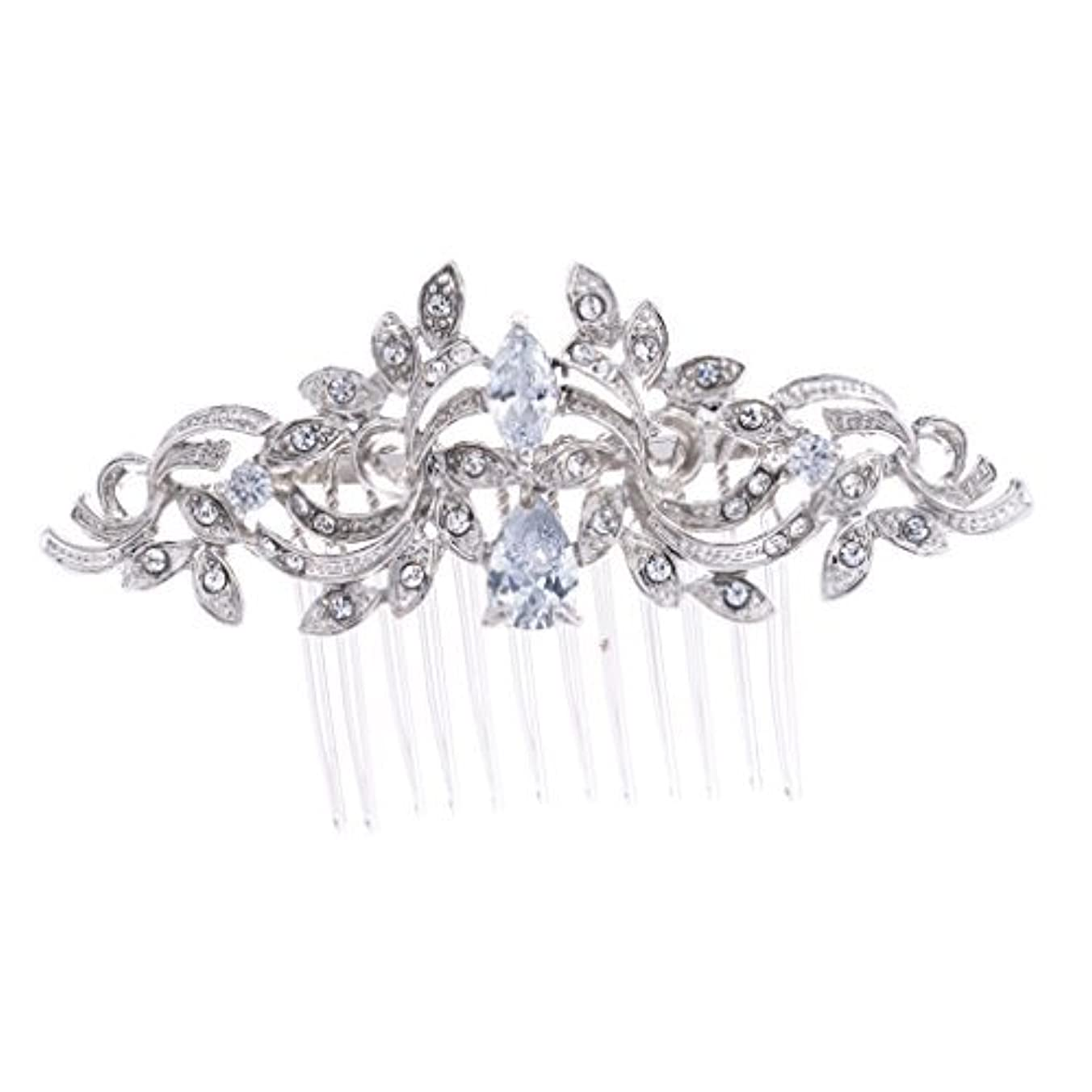 テスピアン流体酸度SEPBRIDALS Crystal Rhinestone Leaves Hair Comb Hair Pins Bridal Wedding Hair Accessories Jewelry 4012R [並行輸入品]