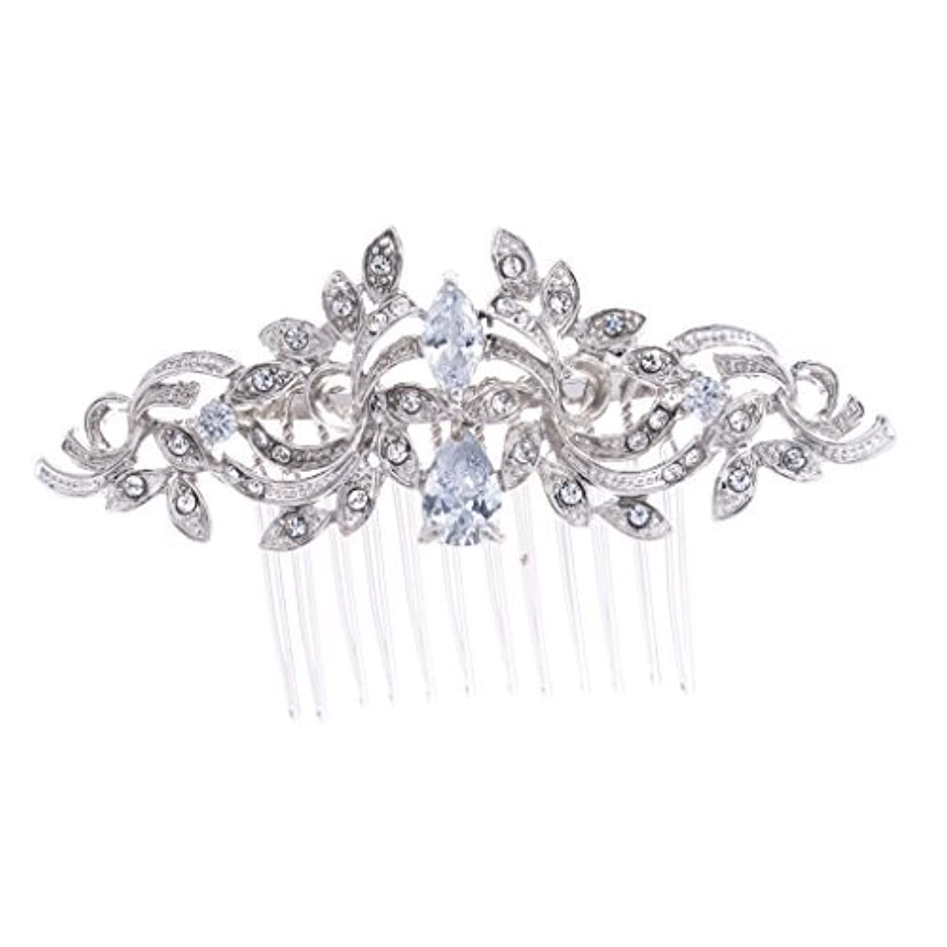 引き付ける従事したビュッフェSEPBRIDALS Crystal Rhinestone Leaves Hair Comb Hair Pins Bridal Wedding Hair Accessories Jewelry 4012R [並行輸入品]