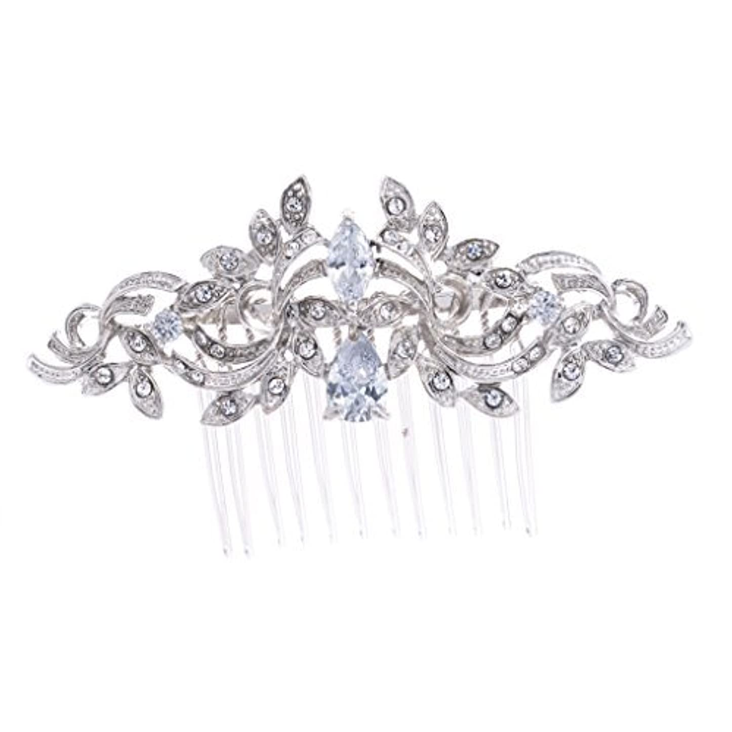 誘導人里離れたカイウスSEPBRIDALS Crystal Rhinestone Leaves Hair Comb Hair Pins Bridal Wedding Hair Accessories Jewelry 4012R [並行輸入品]