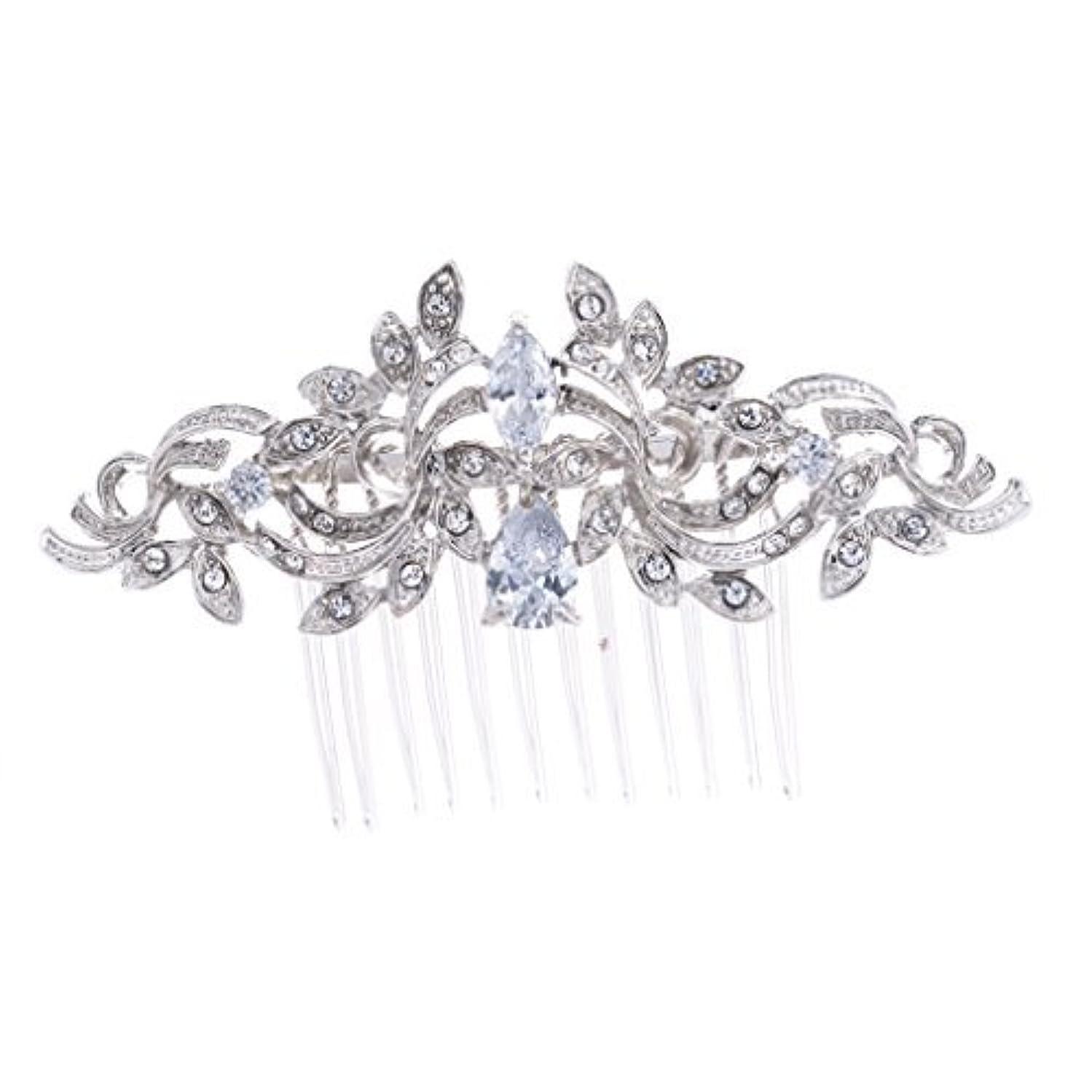 慢なブレイズメトロポリタンSEPBRIDALS Crystal Rhinestone Leaves Hair Comb Hair Pins Bridal Wedding Hair Accessories Jewelry 4012R [並行輸入品]