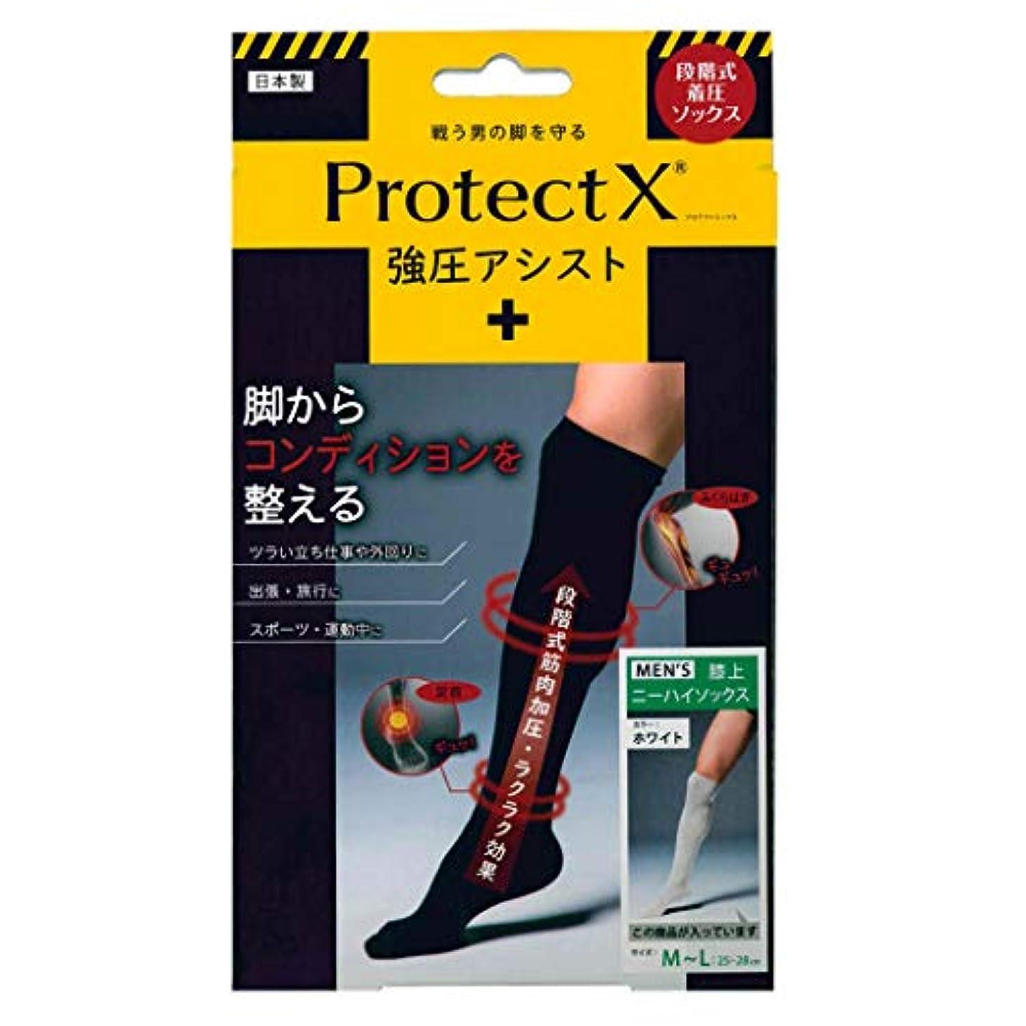 臭い衝突真剣にProtect X(プロテクトエックス) 強圧アシスト つま先あり着圧ソックス 膝上 M-Lサイズ ホワイト