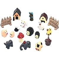 yedream 18 pcsミニ動物ミニチュアオーナメントキットセット、樹脂豚、犬、牛、ハリネズミ、象DIYドールハウス妖精ホームガーデン植物の飾り