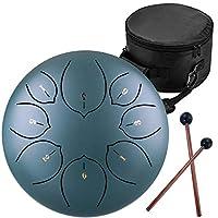 Ti-Yiga 10インチ (8音) スリットドラム スチールタングドラム 打楽器 キャリーバッグ付き スティック付き 瞑想ヨガ ダークグリーン ロータスキー