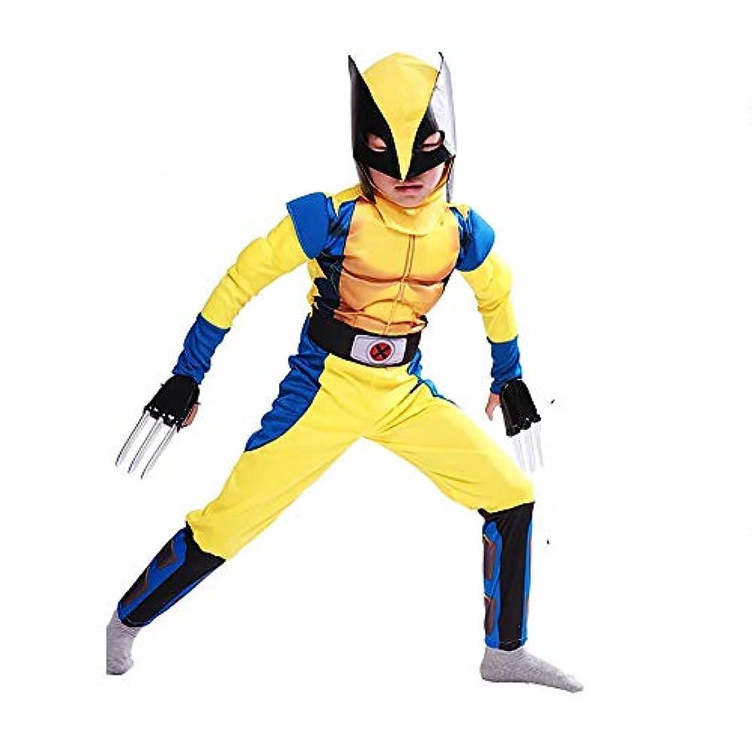 幸福チャーター砦S&C Live ハロウィンコスチューム キッズコスチューム 男の子向き ウルヴァリンコスチューム3点セット 全身衣装 お面付 プラスチック製クロー爪2本付 ローガンコスチューム イエロー 黄色 ウルヴァリン筋肉服 かっこいい マッチョ 戦ってる感 ウルヴァリン着ぐるみ Wolverine Costume Logan Costume マーベルスーパーヒーロー ウルヴァリン コスプレ キッズ 子供 メンズ 男性 X-メンコスプレ ニューアベンジャーズコスプレ#180239 (キッズ-L)