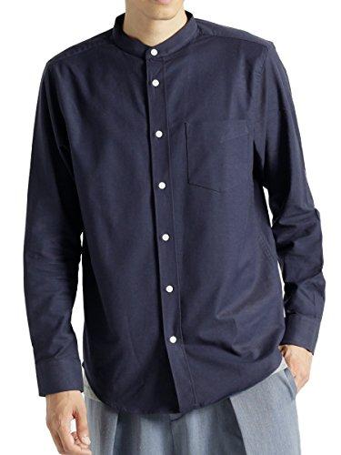(モノマート) MONO-MART ハイストレッチ L/S オックスフォード シャツ バンドカラー ボタンダウン オックスシャツ メンズ ネイビー Mサイズ(バンドカラー)