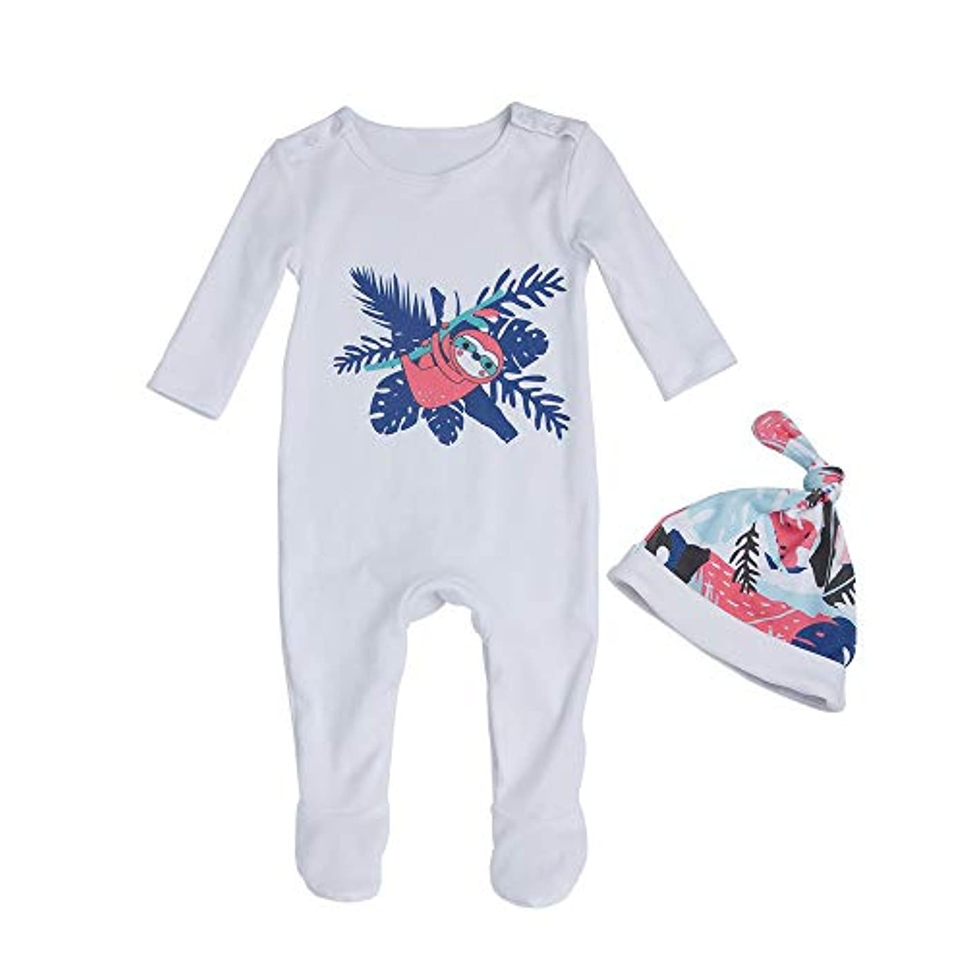 手伝うはちみつ浜辺Liyukee - 赤ちゃん暖かいロンパー、帽子、ジャンプスーツの服下着セット秋の服ホームコスチューム0-24ヶ月に適して新生児の幼児少女 (3-6m)