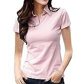 [サコイユ] Tシャツ カットソー 半袖 襟付き トップス シャツ 無地 Vネック レディース (XL, ピンク)