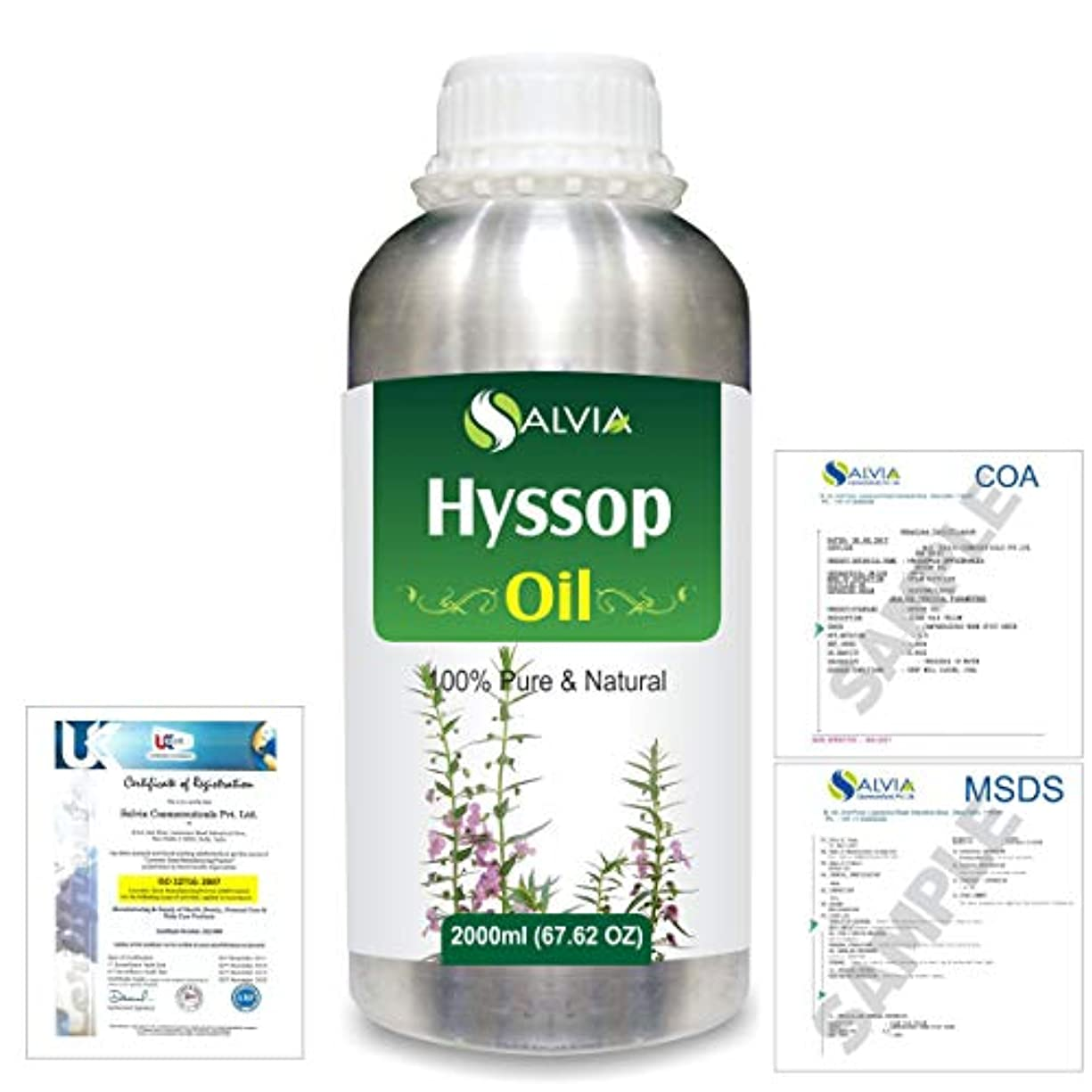 計り知れない助言するであることHyssop (Hyssopus officinalis) 100% Natural Pure Essential Oil 2000ml/67 fl.oz.