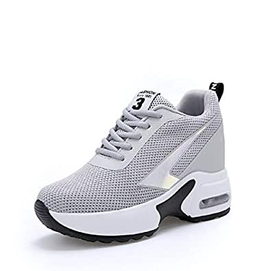 [ruisi] レディース インヒールスニーカー エアクッション 厚底スニーカー 運動靴 シークレットシューズ ヒールアップ 軽量 美脚 疲れにくい 8センチ身長アップ(グレー、22.0cm)