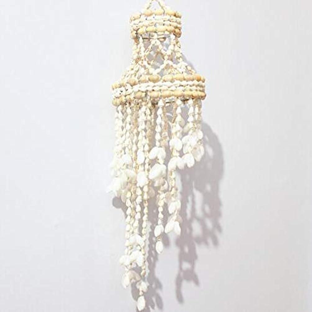 たっぷり日付付き陰気Chengjinxiang 風チャイム、ナチュラル手作りシェル風の鐘、ホワイト、約長さ50cm,クリエイティブギフト (Color : D)