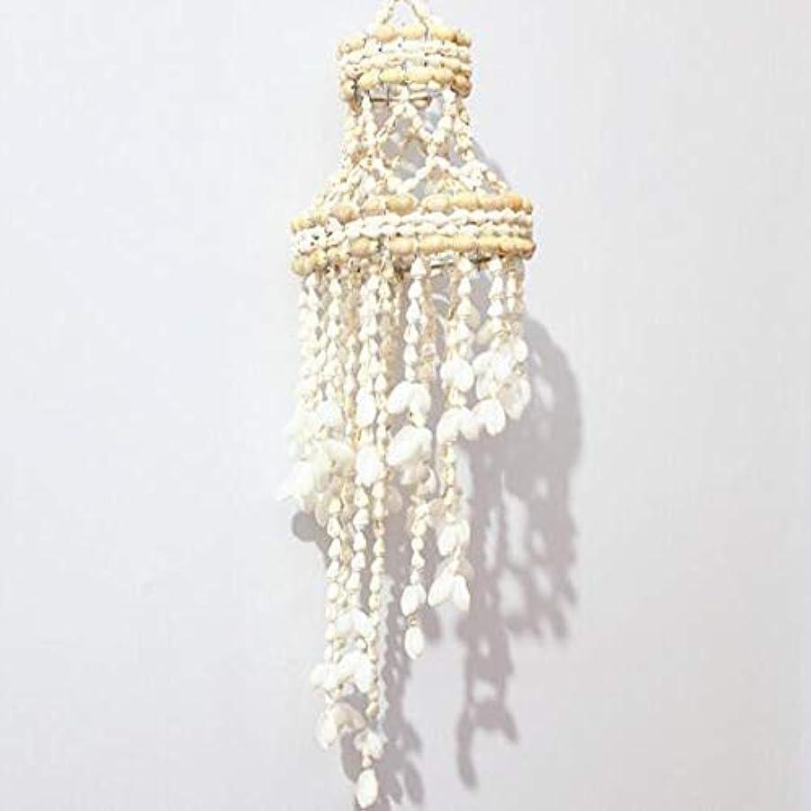 腫瘍プレミアム魔女Gaoxingbianlidian001 風チャイム、ナチュラル手作りシェル風の鐘、ホワイト、約長さ50cm,楽しいホリデーギフト (Color : D)