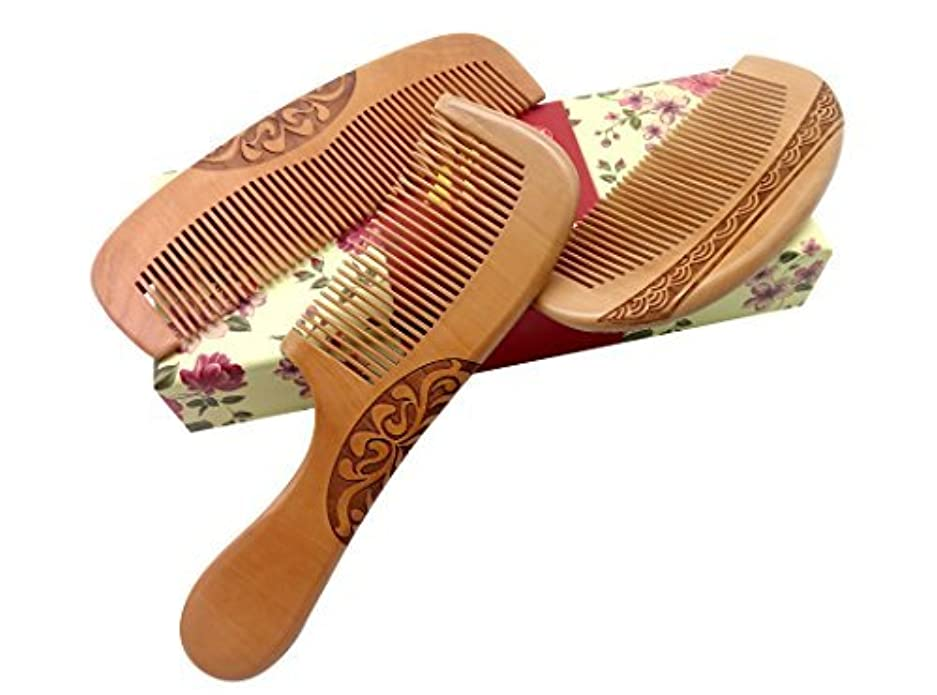 購入盟主飲食店ZuiKyuan Wooden Hair Comb No Static Hair Detangler Detangling Comb with Premium Gift Box 3 Pcs [並行輸入品]