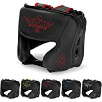 (Red) - NEW ITEM Elite Sports Boxing Head Guard, Sparring Kickboxing, MMA, Muay Thai Headgear Kick Brace Head Protection