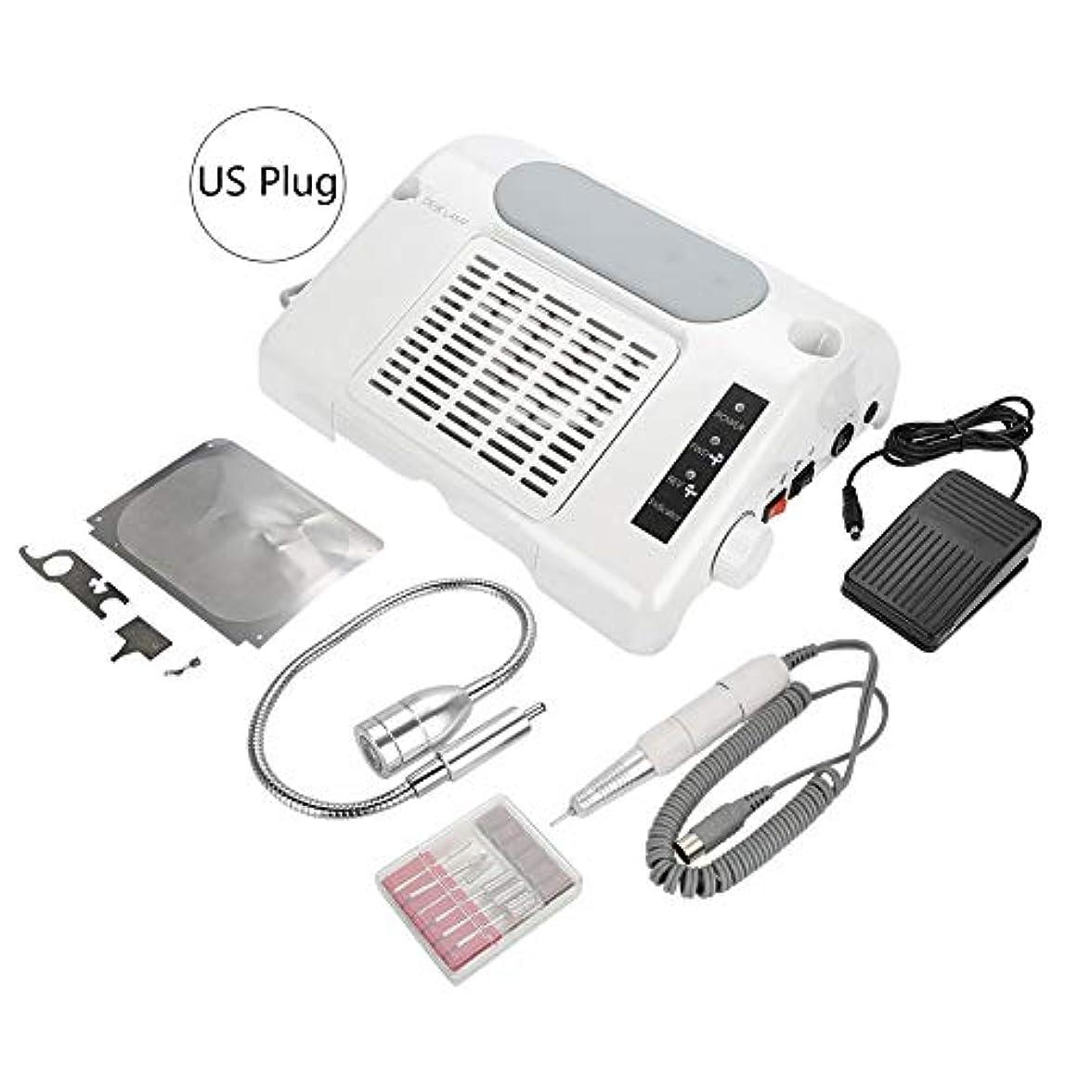 ファブリックエール収縮YOUTHINK 3 in1 電動ネイルドリル 集塵機 65W ネイルポリッシュ機 35000 RPM LEDライトネイルアート機器 手動/ペダルモード LCD表示(USプラグ)