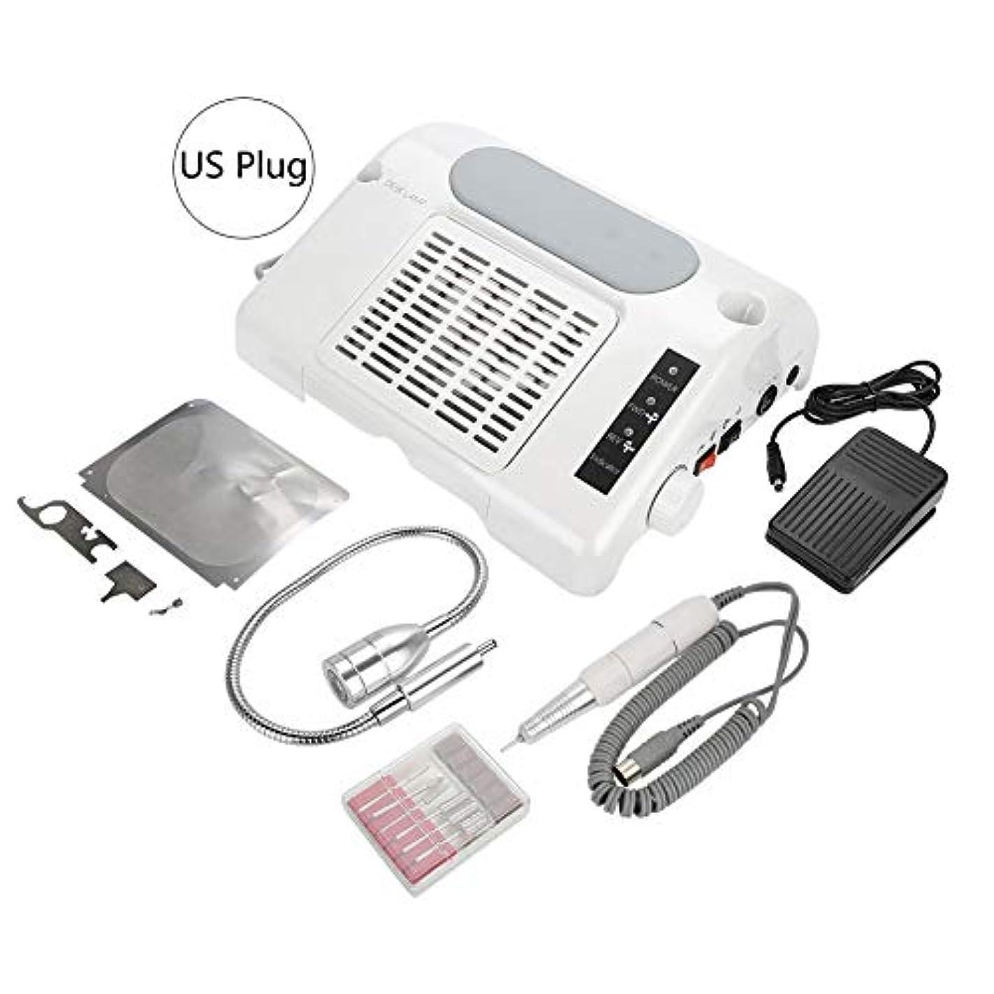 ターゲットエーカー批判YOUTHINK 3 in1 電動ネイルドリル 集塵機 65W ネイルポリッシュ機 35000 RPM LEDライトネイルアート機器 手動/ペダルモード LCD表示(USプラグ)