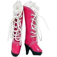 【全4色】 ネオブライス 靴 レース付き 編み上げブーツ ハイヒール ロングブーツ 1/6ドール ローズピンク