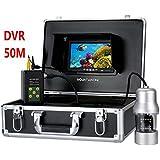 WG HD水中釣りカメラ 0-360度ビュー、リモートコントロール、7インチLCDモニター、14xホワイトライト 20M 50M