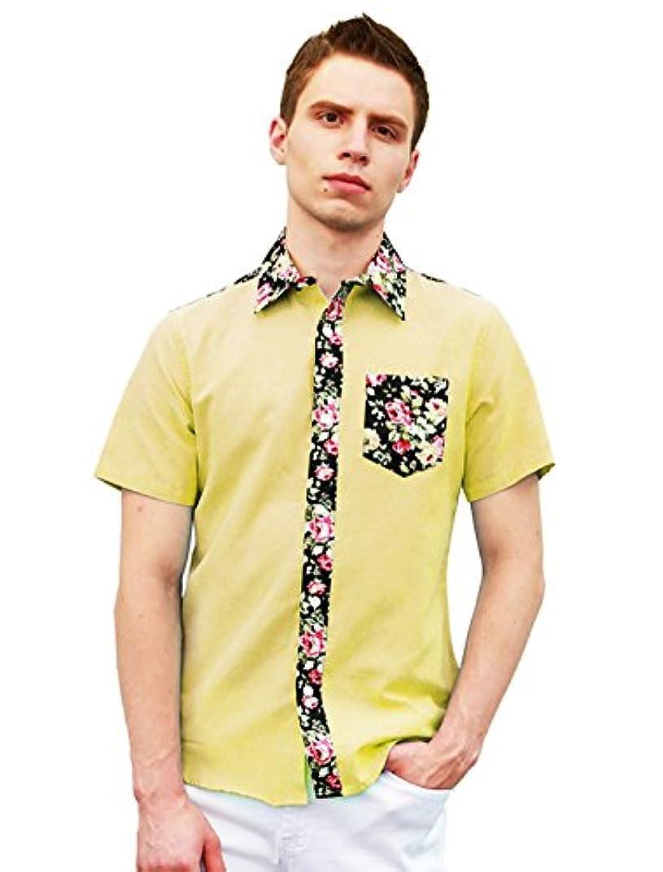 自治空剥離Allegra K (JP) メンズ シャツ 花プリント 半袖 前ボタン 胸ポケット ファッション カジュアル おしゃれ 春 夏