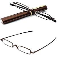 VEVESMUNDO Reading Glasses Presbyopic Optical Glasses Men Women Metal Narrow Spring Hinge Portable Lightweight Compact Travel Pocket Pen Clip Tube Case