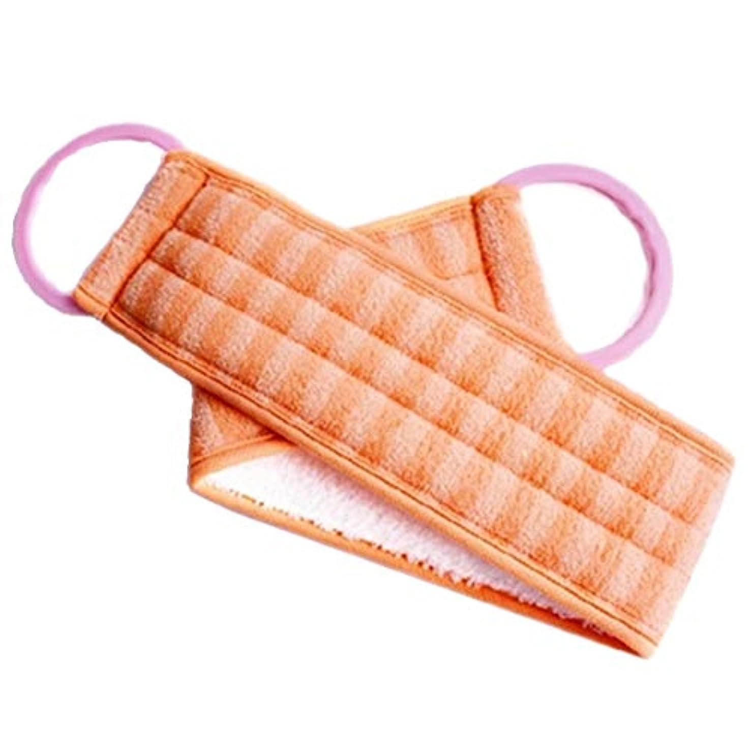 評議会妖精ひばりボディエクスフォリエイティング用ハンドルバススポンジブラシ付きロングバックスクラバー、オレンジ