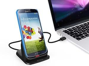 KiDiGi ultrathin ディスクトップ クレードル for Samsung Galaxy S4 極薄デザイン/コネクタ可動機構付 (ブラック)