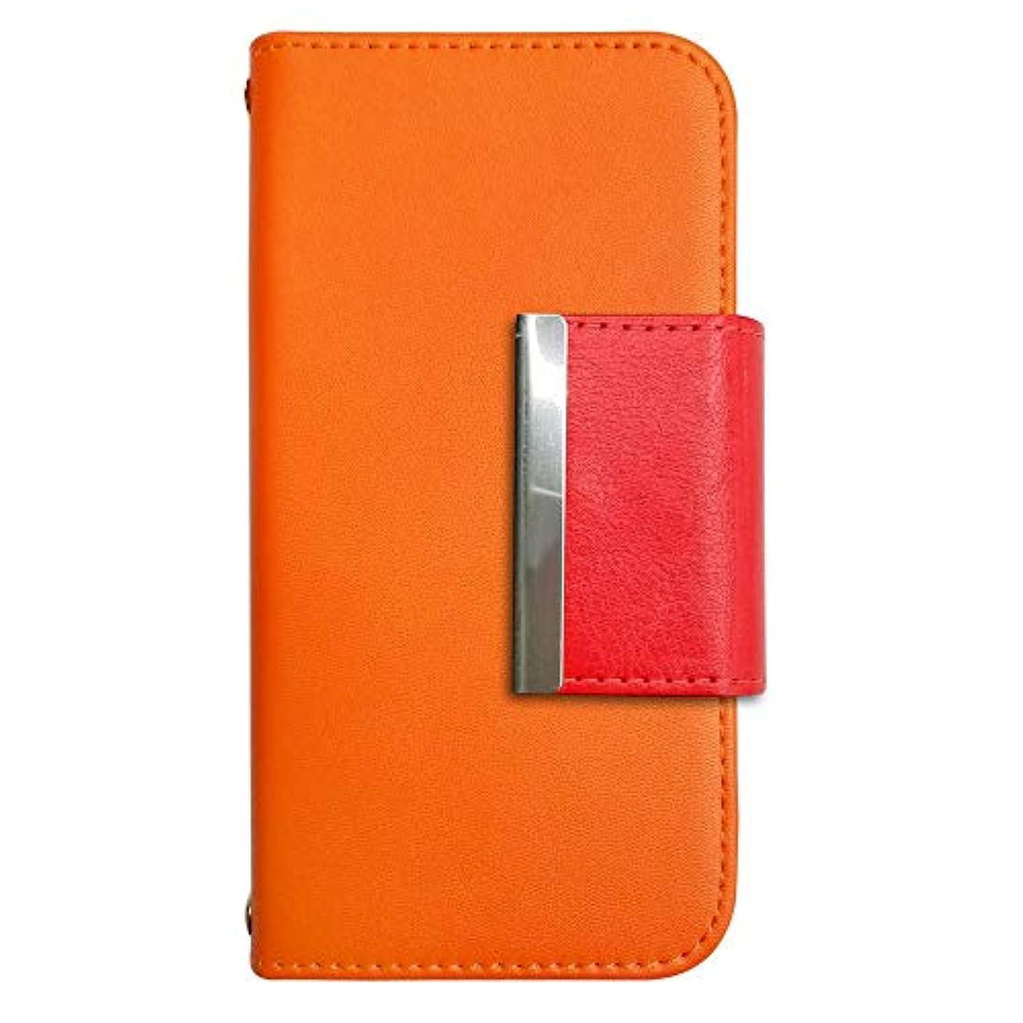パターン暴徒お嬢sslink Galaxy S9 SC-02K/SCV38 ギャラクシーS9 ケース 手帳型 スマホケース 四角フレームデコ(レッド) ベルト きせかえ belty おしゃれ (カバー色オレンジ) ダイアリータイプ 横開き カード収納 フリップ カバー スマートフォン