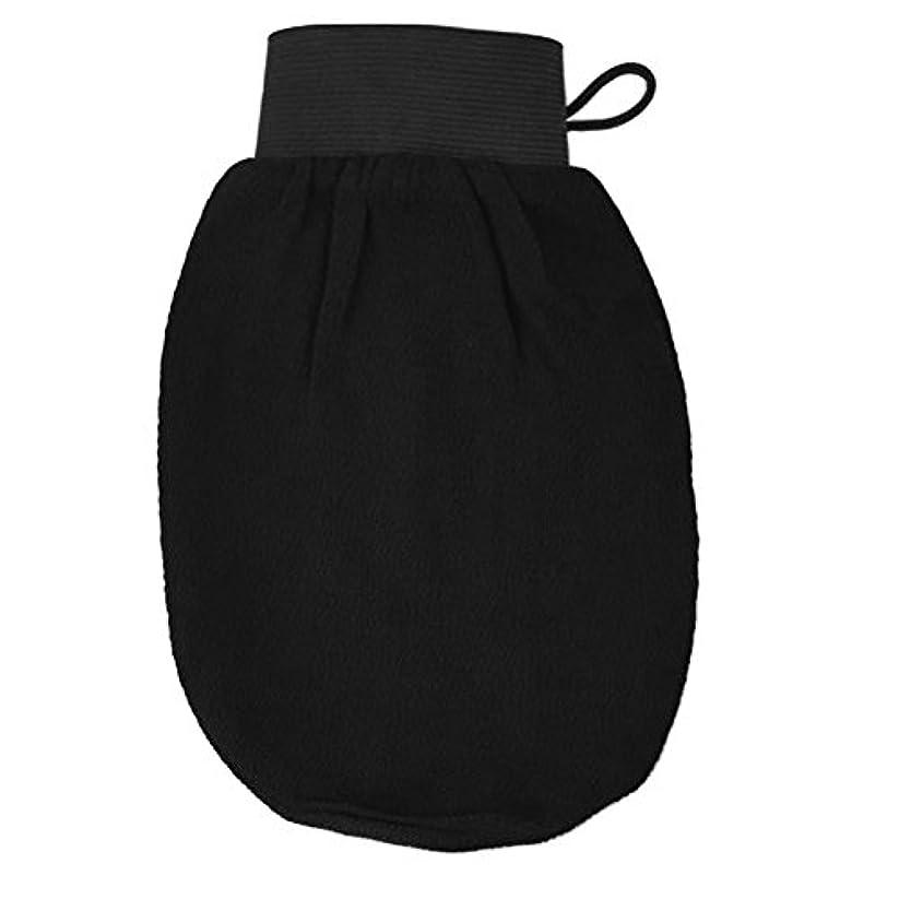 ウェイド後退する権限ROSENICE バスグローブ 浴用グローブ 角質取り 泡立ち 垢擦り 手袋 マッサージ ボディウォッシュ シャワー バスルーム 男女兼用 バス用品(ブラック)