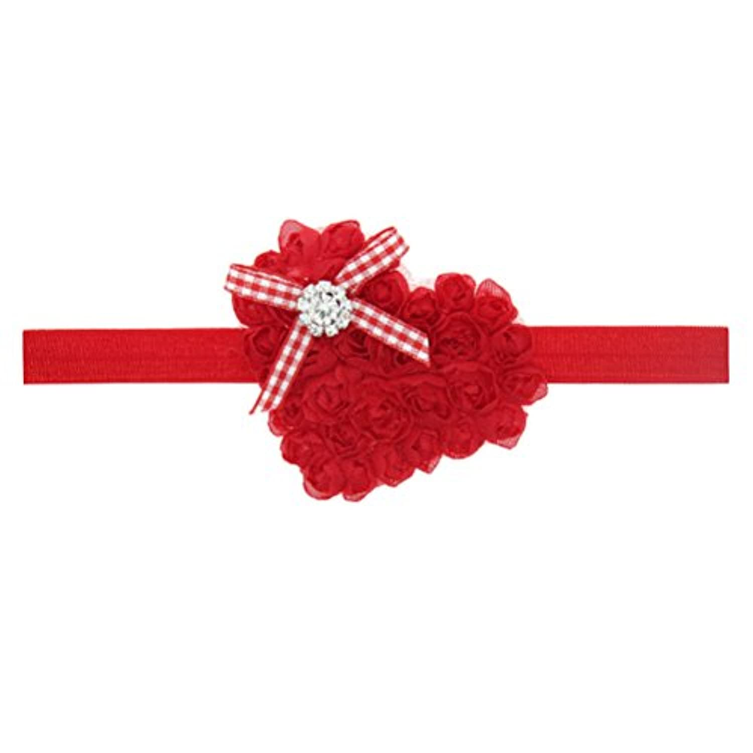 Zhhlaixing ベビー小物 Baby Girls Hairband Heart-shaped Embroidery Headband Flower Hair Accessories for Christmas