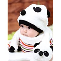 パンダがかわいい 小さなお子様用 ニットキャップ マフラー 2点セット (ホワイト)