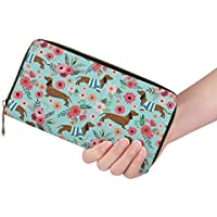 FUSURIRE Women's Floral Wallet Zip Around Long Wallet Leather Clutch Travel Handbag Purse Boho Style
