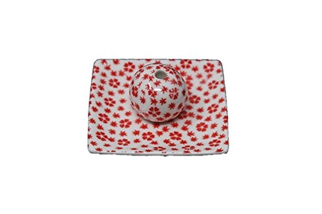 暗唱するアトラスアシスト桜小紋 赤 小角皿 お香立て 陶器 ACSWEBSHOPオリジナル