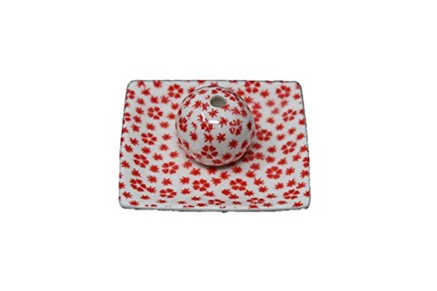 厳密に和成果桜小紋 赤 小角皿 お香立て 陶器 ACSWEBSHOPオリジナル