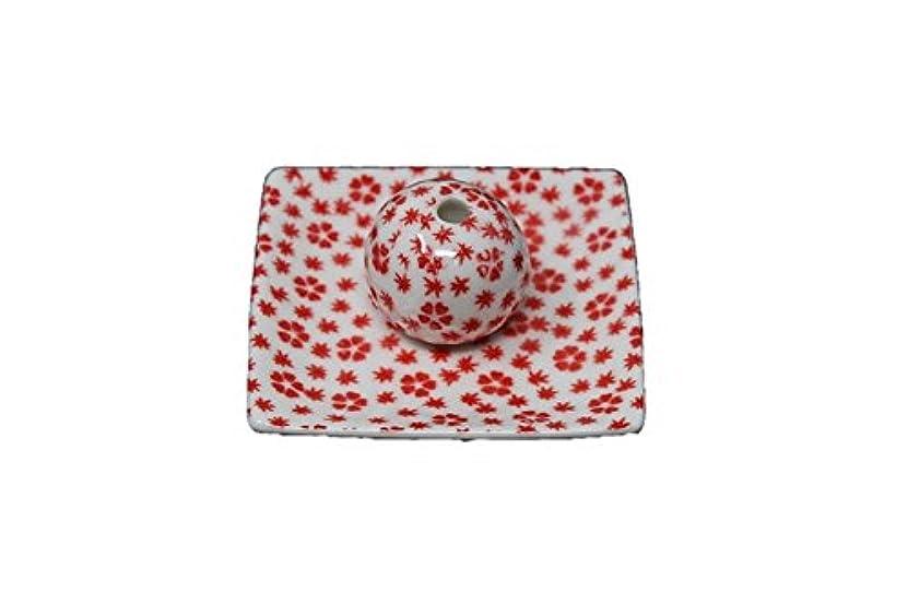 比較的みすぼらしい専門桜小紋 赤 小角皿 お香立て 陶器 ACSWEBSHOPオリジナル