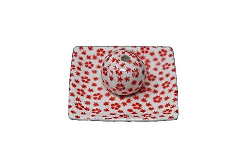 冷淡な二十桜小紋 赤 小角皿 お香立て 陶器 ACSWEBSHOPオリジナル