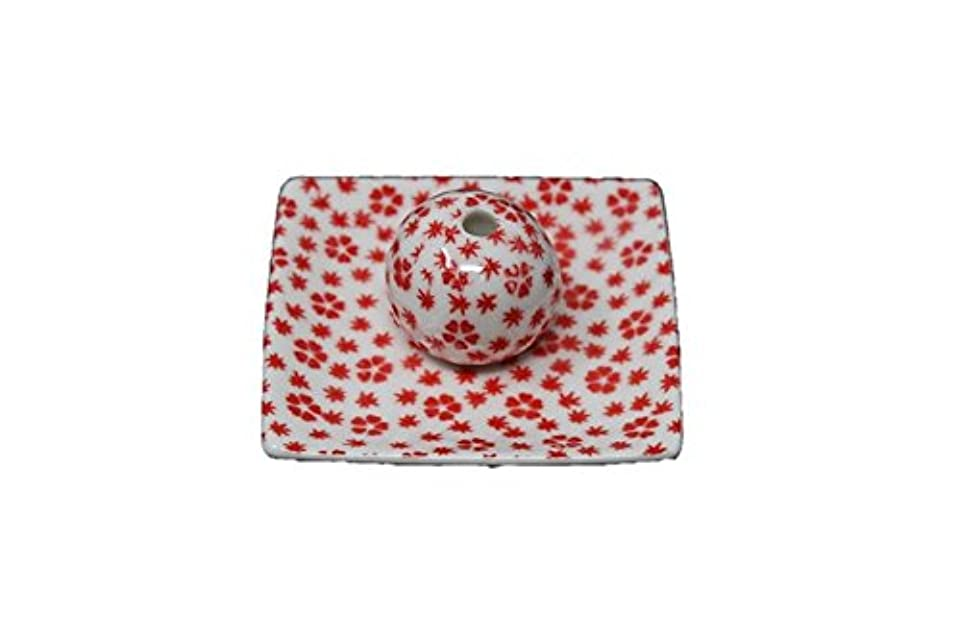 忠実以降代わりに桜小紋 赤 小角皿 お香立て 陶器 ACSWEBSHOPオリジナル