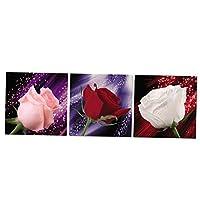 Dovewill 3パネル ロマンチック プリント 家庭装飾 バラ キャンバス 壁アート 組み合わせ 贈り物 全4サイズ - XL