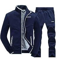chenshiba-JP メンズトラックスーツアクティブウェア2ピースジャケット&パンツフルジップジョギングスウィッチスポーツスポーツウェア Dark Blue XS