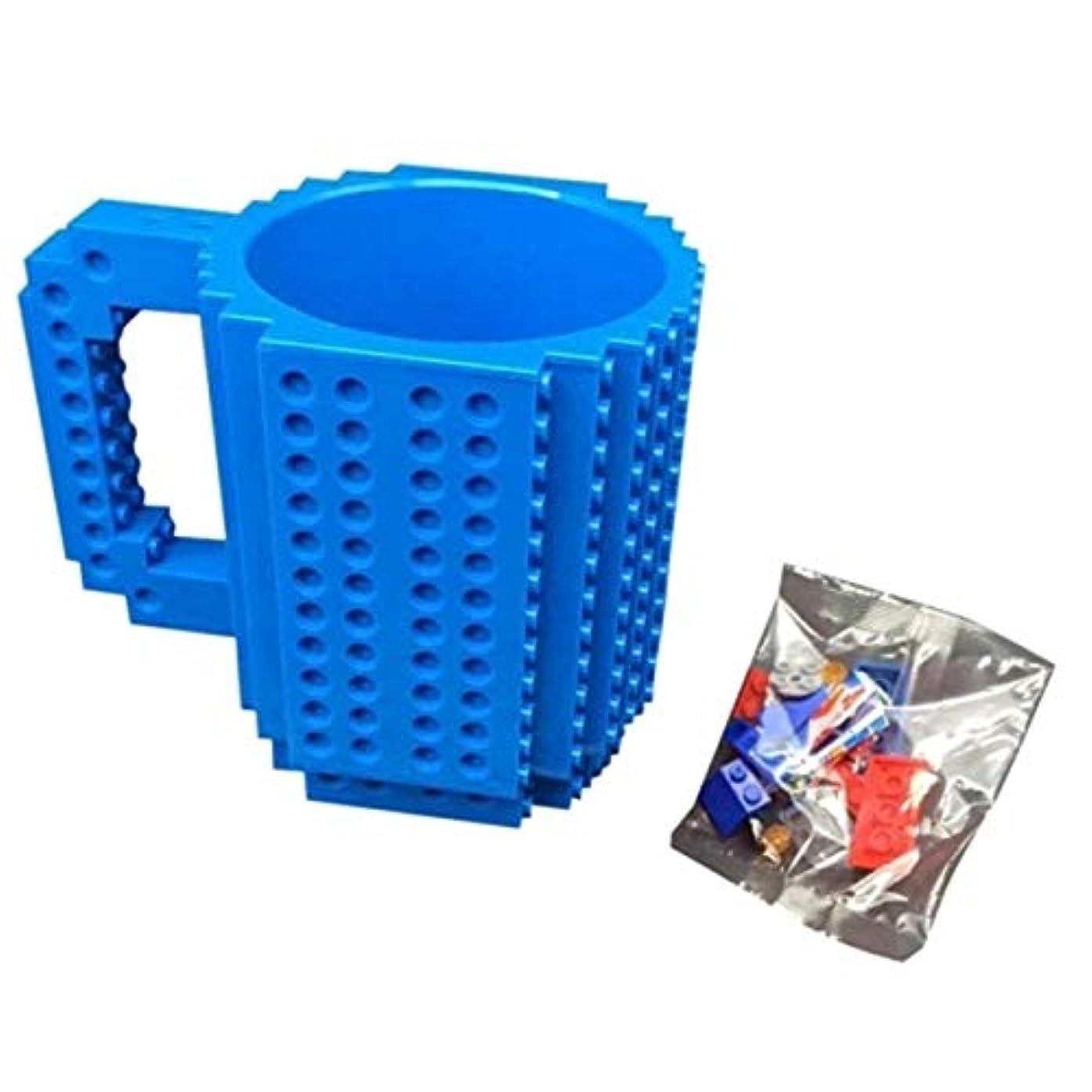 電気採用する晩ごはんTivollyff レンガマグカップDIYのビルディングブロックを構築するコーヒーカップ 青
