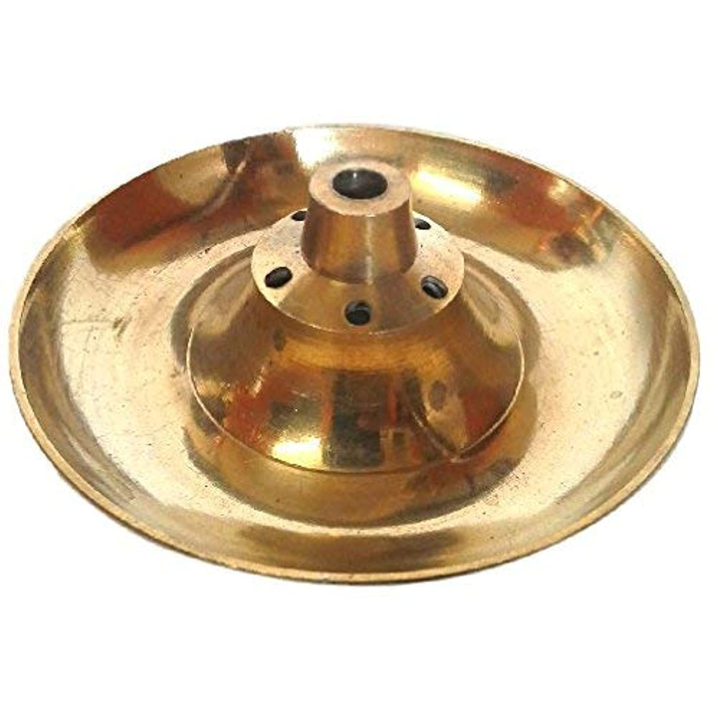 ワックス満足できる責めるDivineTemples Brass Incense Holder (8 cms), Gold