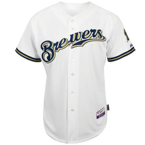 MLB Milwaukee Brewers 6つボタンCool Base Authenticホームジャージーメンズ